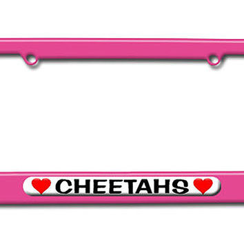 Cheetahs Love with Hearts License Plate Frame