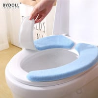 BYDOLL Portable And Washable Toilet Seat Cover Cushion Pads Warmer Thick Flannel Paste Memory Sponge Electrostatic Sticker