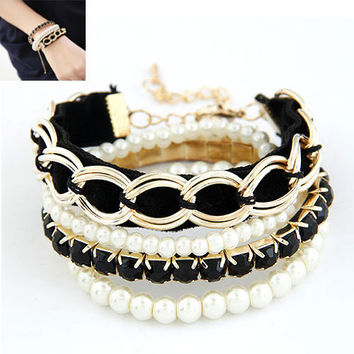 Fashion Charm Bracelets & Bangles Simulated With Pearls