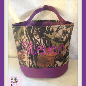 Purple Camo Easter Buckets  personalized Easter Basket , Chevron Bucket , Chevron Tote ~~Ready to Ship~~