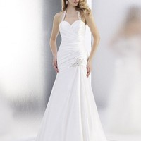 A-Line Halter Floor-Length Gown with Satin Style T556 : $195.00 at VikiDress.com.