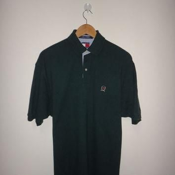 New Year Sale Vintage TOMMY HILFIGER Polo Shirt 1990s Hip Hop Nice Color Green