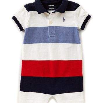 Ralph Lauren Childrenswear Baby Boys 3-24 Months Short-Sleeve Striped Shortall | Dillards
