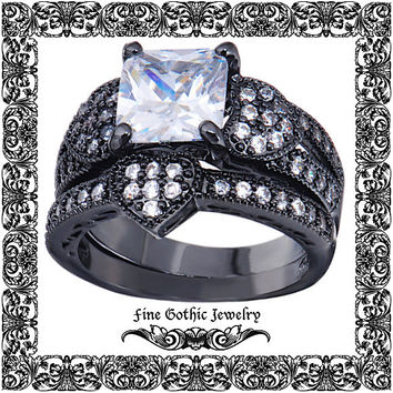Gothic Wedding Rings | Black Wedding Ring | Romantic 2Ct Cushion White CZ Heart Pave Ring and Wedding Band Ring Set | Size 6 7 8 9 10 #124-w