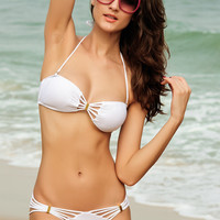 White Padded Cut Out Bikini Set