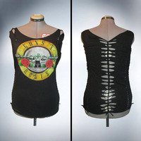Guns n Roses /GnR / Shredded /Weaved /Cut Tshirt/Top Size M by Rebeltude