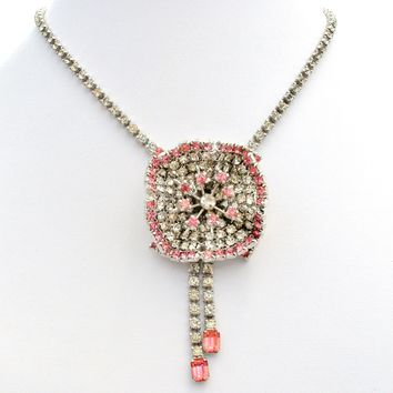 Pink & Clear Rhinestone Flower Necklace Vintage