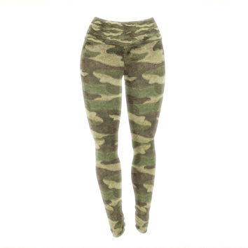 "Bruce Stanfield ""Dirty Camo"" Green Beige Yoga Leggings"