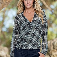 Grey Multi (GYMU) Plaid Embellished Blouse