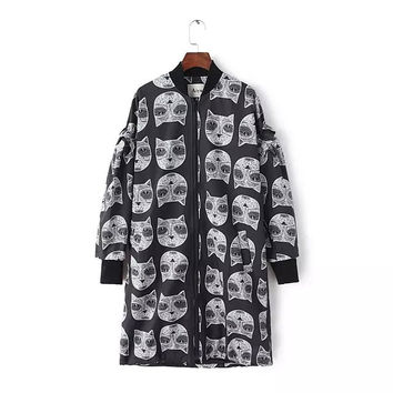 Casual Cat Print Long Sleeve Zipper Front Black Trench Coat