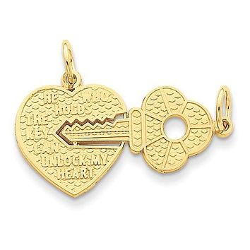 14K Yellow Gold Love Lock With Key Necklace Charm