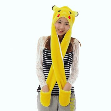 Pikachu Beanie Winter hats  Plush Caps For Boy and Grils Poken Go Cute Cartoon Plush Animal Pikachu hats