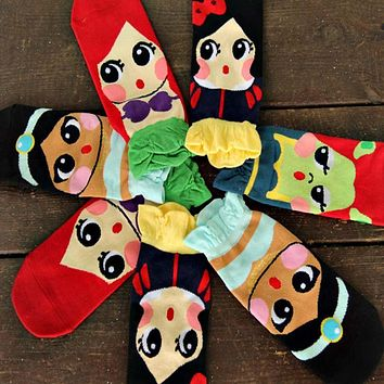 New Kawaii Ladies Ankle Socks 3D Cute Korean Cotton Casual Cartoon Princess Anna Elsa Fiolla Jasmine Mermaid Tube sock