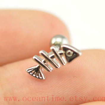 fish Tragus Earring Jewelry,little fish piercing jewelry ear Helix Cartilage jewelry,earring,oceantime