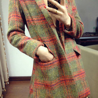 Autumn New Woolen Plaid Slim Overcoat,Cheap in Wendybox.com