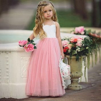 Princess Dress Toddler Baby Kids Girls Wedding Party Prom Birthday Tutu Sleeveless Long Dresses Pink