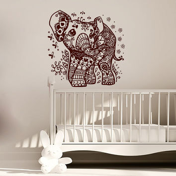 Wall Decals Elephant Indian Pattern Yoga Oum Om Sign Decal Vinyl Sticker Home Decor Art Murals Bedroom Home Decor Studio Window MN492