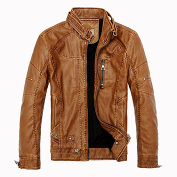 2016 Winter Men's Casual Leather Jackets Men Vintage Motorcycle PU Leather Jacket  Male Moto Coats,Fashion Brand Clothing SA086