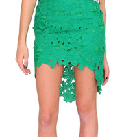 Legally Beautiful Lace Skirt - Green