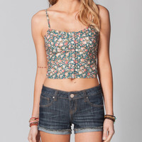 Fire Floral Snap Corset Top Multi  In Sizes