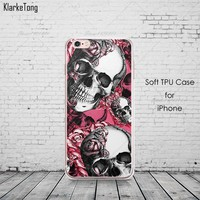 Floral Sugar Skull Case Cover For iphone 6 6S 7 7Plus Silicone Transparent Cell Phone Cases - skull 2, for iphone 7 plus
