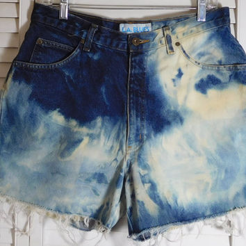 Womens Dyed Jean Shorts High Waisted Hi Low Hem Size 16 Petite Hippie Clothes Upcycled Beach Bohemian Frayed Distressed Worn In LA Blues