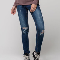 Zco Premium Destructed Womens Skinny Jeans Dark Blue  In Sizes