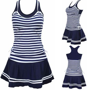 Size Navy Blue Striped Tankini Swimdress Swimsuit