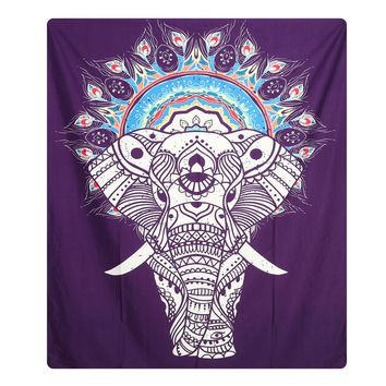 2 Style Indian Elephant Mandala Tapestry Hippie Wall Hanging Tapestries Beach Throw Towel Gypsy Bed Sheet Home Decor 148X210cm