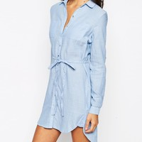 New Look Chambray Longline Shirt Dress