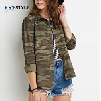 Casual Fashion Women Camouflage Jacket Sheath Disposition Outerwear Vogue Ladies Jacket Military Fatigues Zipper Army Green Coat