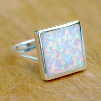 White Square Ring,Statement ring,Opal Ring,Geode ring,October Birthstone,Birthstone Ring,gemstone ring,Agate ring,Mother Ring