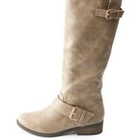 Two-Buckle Knee-High Riding Boots by Charlotte Russe - Taupe