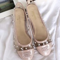 2018 Hot! CHANEL Summer New Fashion Women Starry Transparent Pearl Flat Single Shoe Pink I-XBZZGNX
