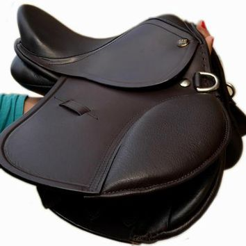 """10"""" English Jumping Close Contact Leather Saddle for KIDS - Havana"""