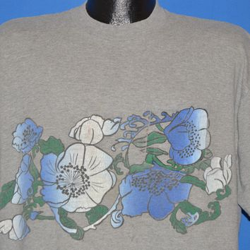 60s Hibiscus Wrap Around Hawaiian Pocket t-shirt Extra Large