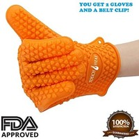 Silicone BBQ Gloves by Touch-Heat, 5 Fingers Oven Mitts Pot Holders with Heat Resistance up to 425°F + Raised Texture Provides Better Grip , Perfect for Cooking, Grilling, Baking, Gardening, Cut Resistant, Easy to Clean, One-Size-Fits All (1 Pair)