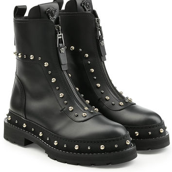 Embellished Leather Ankle Boots - Versace | WOMEN | KR STYLEBOP.COM