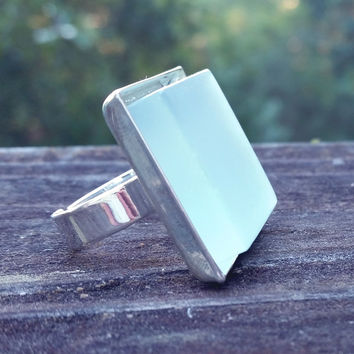 Aqua glass tile silver-plated adjustable ring