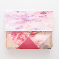 SUNSET 69 / Shibori dyed cotton & Natural leather folded clutch bag - Ready to Ship