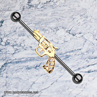 Pistol Blackline Golden Revolver Sparkle Industrial Barbell 14ga Scaffold Piercing