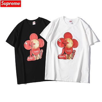 LV x Supreme co-branded 2019 early spring new sun flower puppet print loose round neck short shirt T-shirt