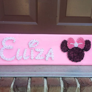Custom Name String Art in Disney inspired font with Minnie or Mickey Mouse Design, birthday gift, baby shower gift, personalized gift