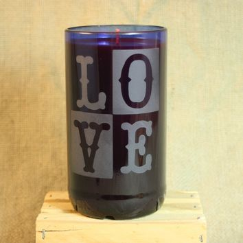 Candle Upcycled From Cobalt Blue Wine Bottle, Recycled Wine Bottle, Sand-Etched Glass Bottle, Home Decor