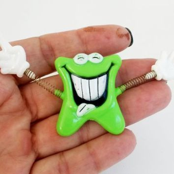 Vintage Lime Green Anthropomorphic Tooth Molar Plastic Trembler Pin w/ Gloves