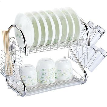 2-Tier Multi-function Stainless Steel Dish Drying Rack
