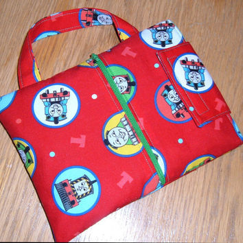 LeapPad Carrying Case with Handle and Zippered Pocket - Padded travel fabric handmade cover flap train red boy kid child toddler - Étui