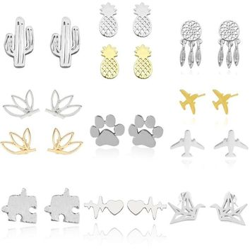 Trendy Plant Animal Stud Earrings For Women Paper Crane Dog Paw Lotus Cactus Airplane Earings Geometric Hexagram Jewelry Brincos