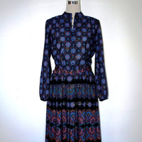 Secretary dress. VINTAGE. Purple and black. Mint condition. Boho / retro.
