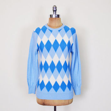 Vintage 50s 60s 70s Blue Argyle Sweater Jumper Argyle Print Sweater 100% Wool Sweater Preppy Sweater 60s Mod Mad Men Women XS Extra Small S